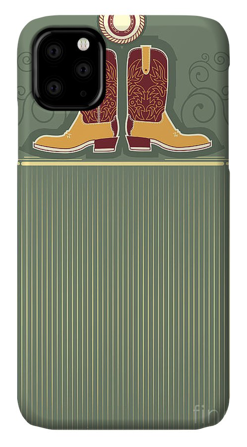 Ranching IPhone 11 Case featuring the digital art Cowboy Boots.vintage Western Decor by Tancha