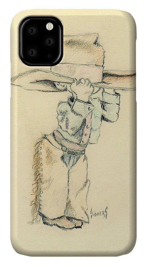 Cowboy IPhone Case featuring the drawing Cowboy by Sam Sidders