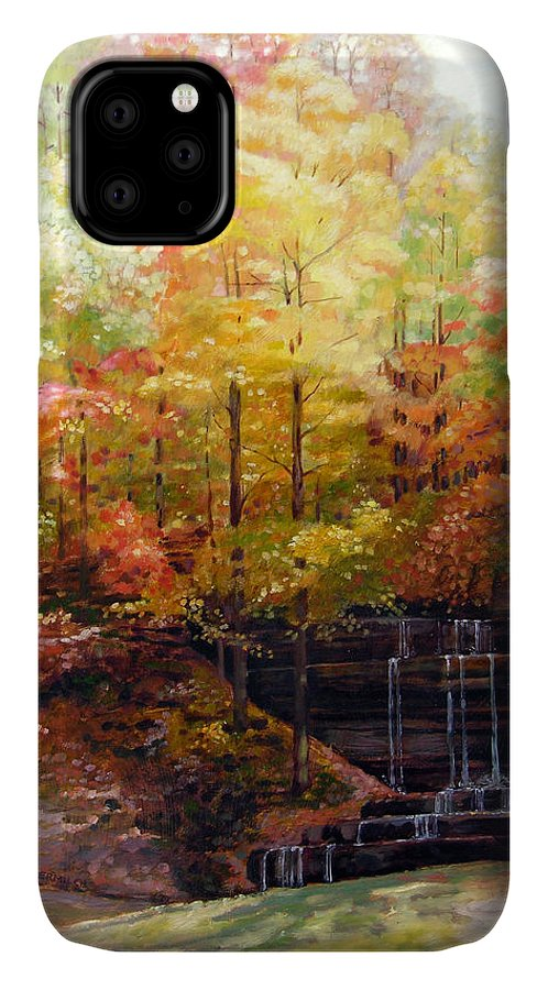 Fall Trees IPhone Case featuring the painting Creve Coeur Park by John Lautermilch