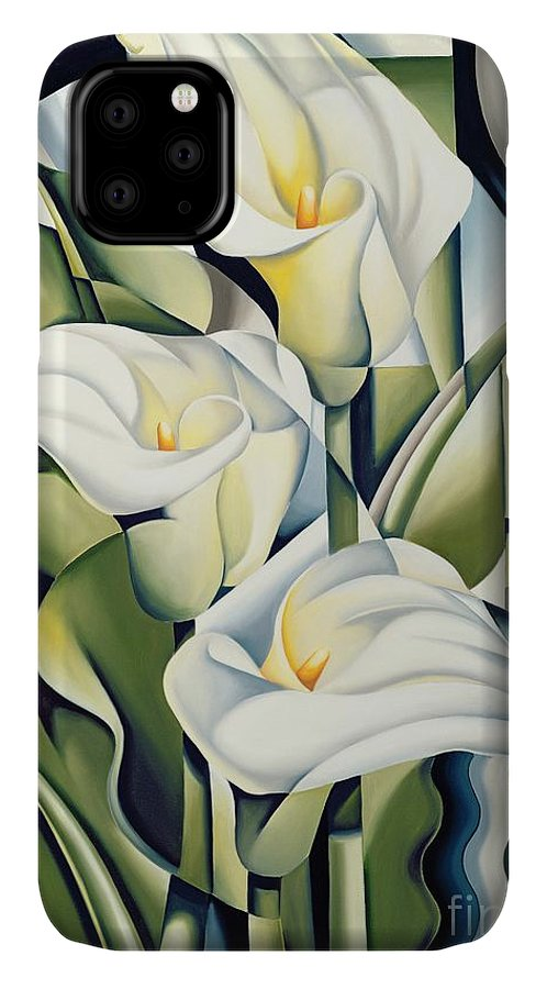 Cubist IPhone Case featuring the painting Cubist lilies by Catherine Abel