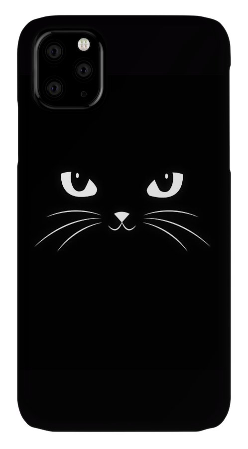 Cat IPhone Case featuring the digital art Cute Black Cat by Philipp Rietz