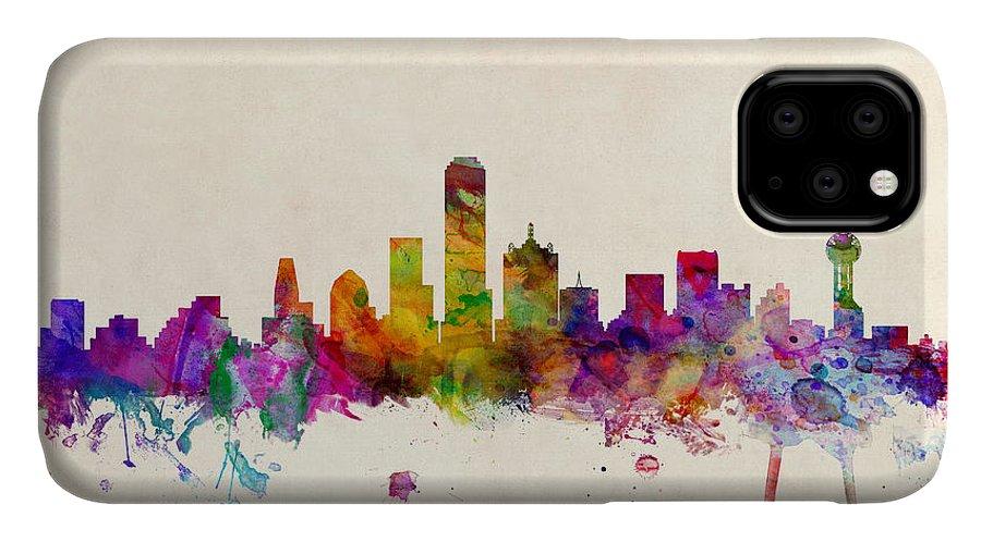 Watercolour IPhone Case featuring the digital art Dallas Texas Skyline by Michael Tompsett