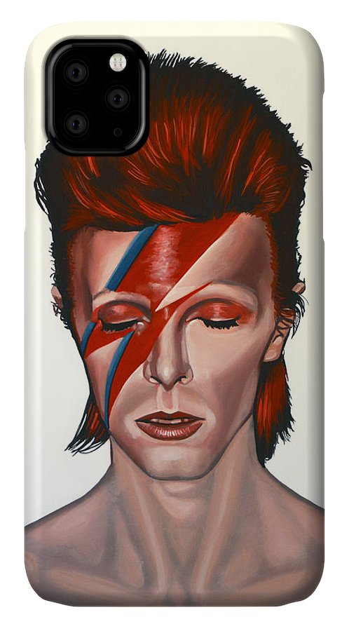 David Bowie IPhone 11 Case featuring the painting David Bowie Aladdin Sane by Paul Meijering