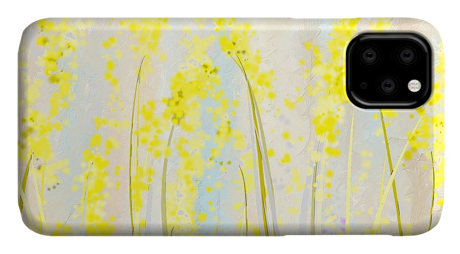 Yellow IPhone Case featuring the painting Delicately Soft- Yellow And Cream Art by Lourry Legarde