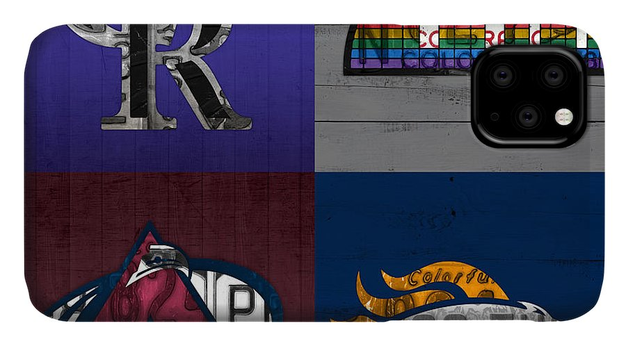 Denver IPhone 11 Case featuring the mixed media Denver Sports Fan Recycled Vintage Colorado License Plate Art Rockies Nuggets Avalanche Broncos by Design Turnpike