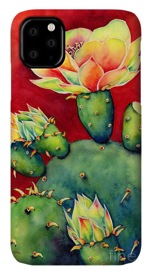 Cactus IPhone Case featuring the painting Desert Bloom by Hailey E Herrera