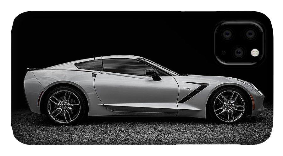 Corvette IPhone 11 Case featuring the digital art 2014 Corvette Stingray 2014 by Douglas Pittman