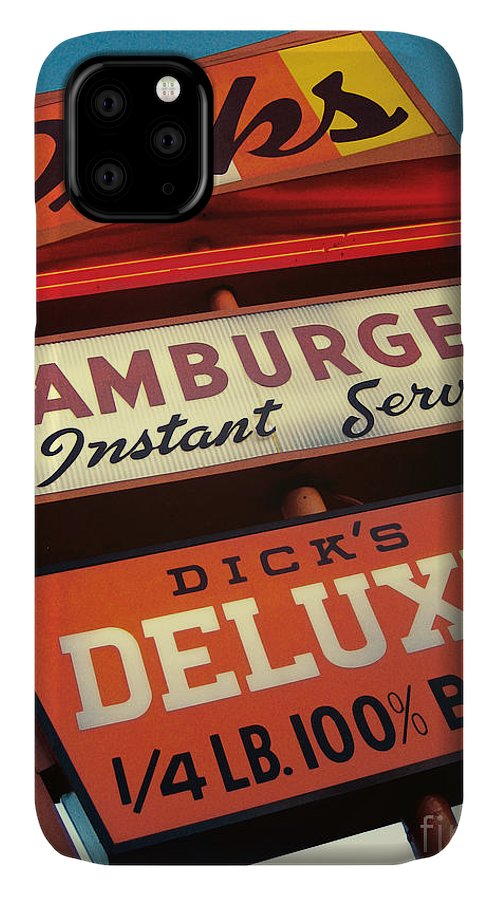 Burgers IPhone Case featuring the digital art Dick's Hamburgers by Jim Zahniser