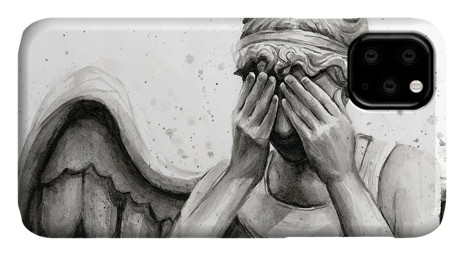 Who IPhone 11 Case featuring the painting Doctor Who Weeping Angel Don't Blink by Olga Shvartsur
