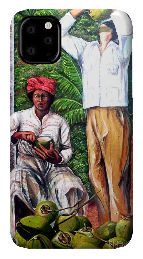 Coconut IPhone Case featuring the painting Drinking Coconut Water by Jose Manuel Abraham