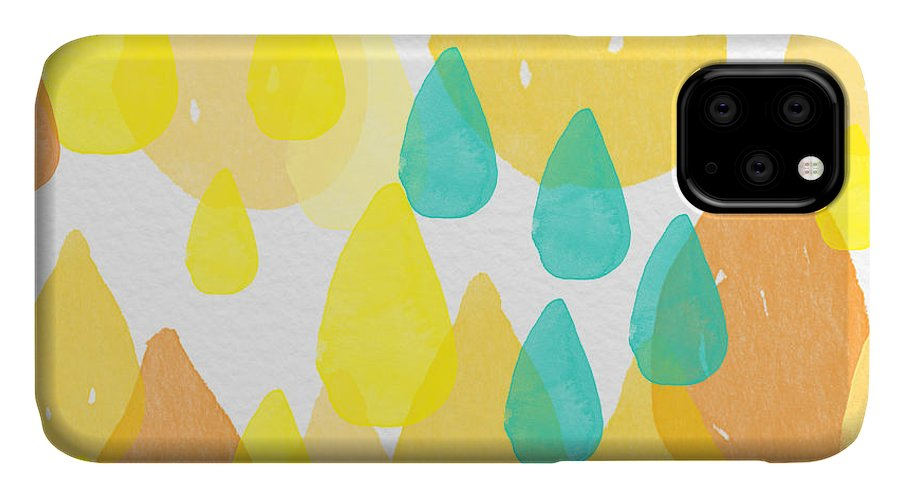 Abstract Painting IPhone Case featuring the painting Drops Of Sunshine- Abstract Painting by Linda Woods