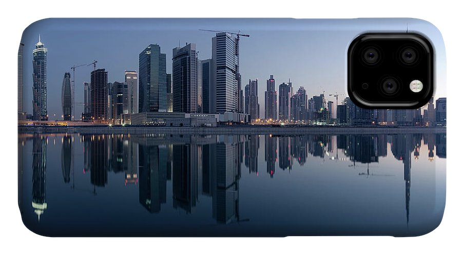 Tranquility IPhone Case featuring the photograph Dubai Business Bay Skyline With by Spreephoto.de
