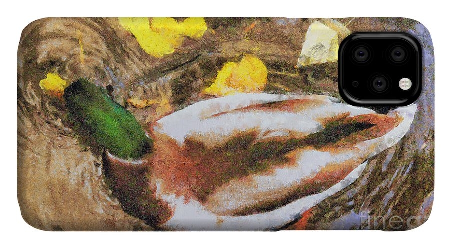 Watercolor IPhone Case featuring the painting Duck Swimming In The Lake by Odon Czintos