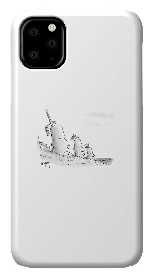 Captionless IPhone 11 Case featuring the drawing Easter Island Statues Have Straws And Umbrellas by Christopher Weyant