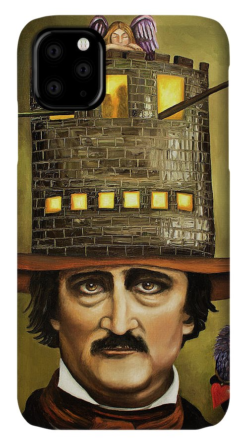 Poe IPhone 11 Case featuring the painting Edgar Allan Poe by Leah Saulnier The Painting Maniac
