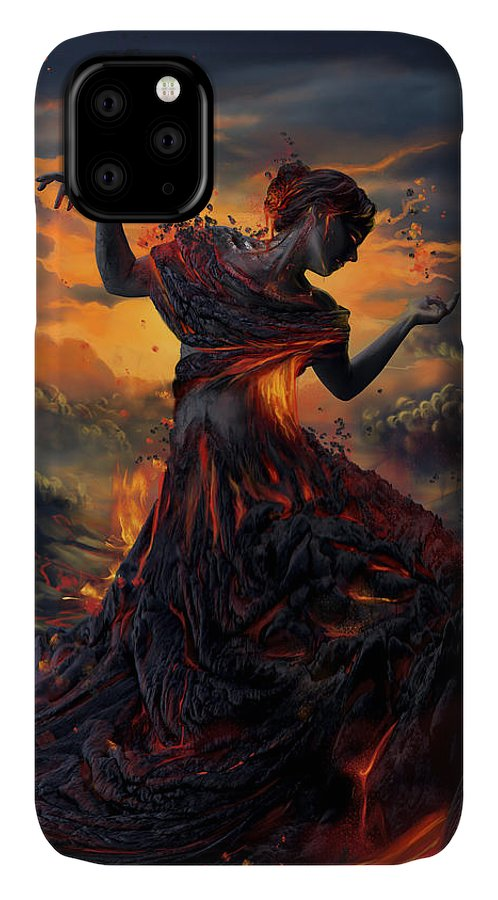 Fire IPhone Case featuring the digital art Elements - Fire by Cassiopeia Art