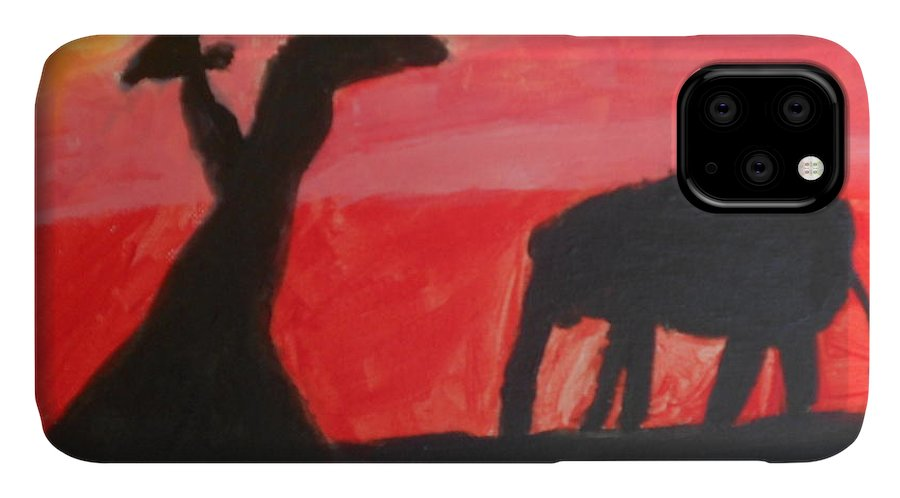 Giraffe Paintings IPhone 11 Case featuring the painting Elephant And Giraffe by Epic Luis Art