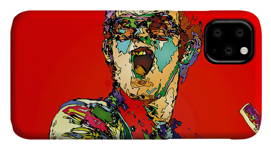 Elton John IPhone Case featuring the painting Elton in Red by John Farr
