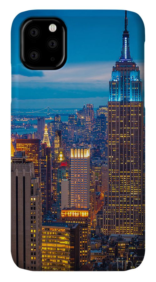 America IPhone Case featuring the photograph Empire State Blue Night by Inge Johnsson