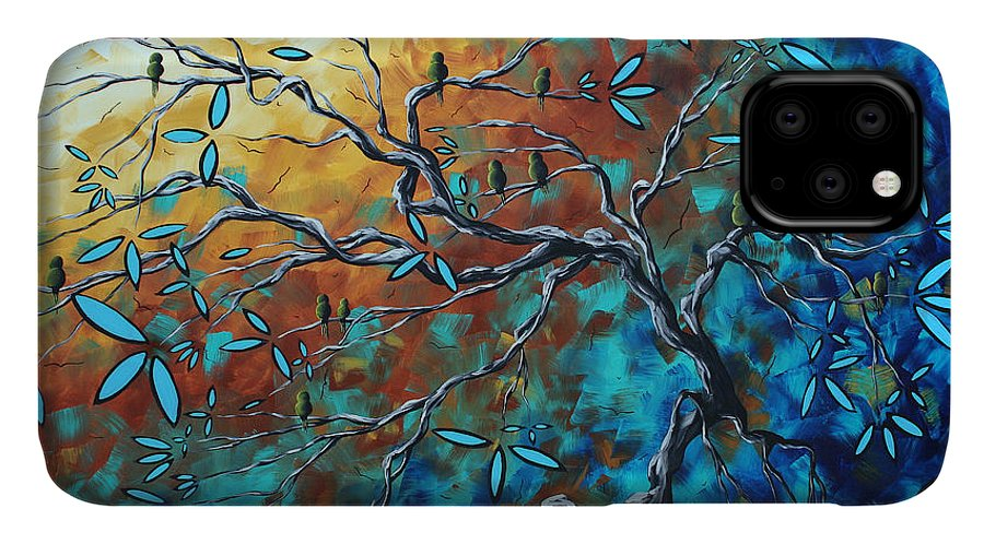 Art IPhone 11 Case featuring the painting Enormous Abstract Bird Art Original Painting Where The Heart Is By Madart by Megan Duncanson