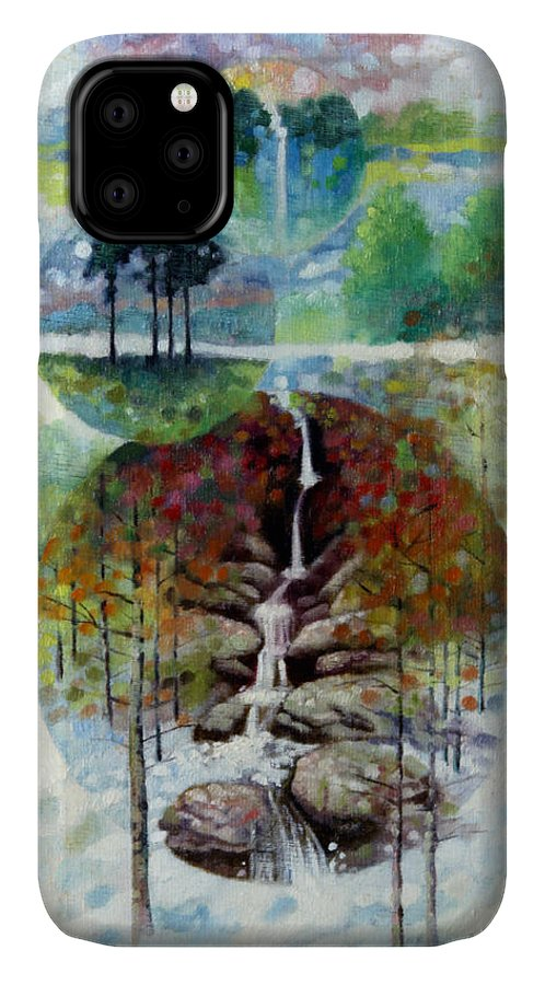 Waterfall IPhone Case featuring the painting Eternal Waterfall by John Lautermilch
