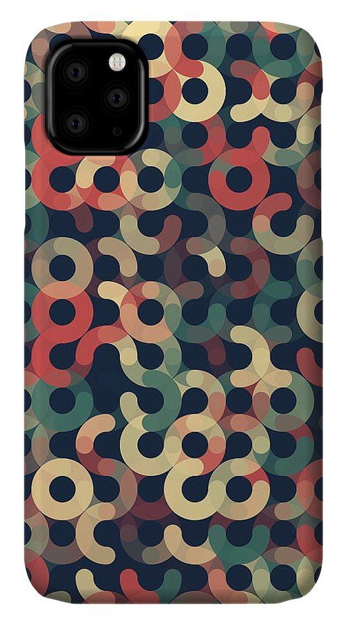 Abstract; Spotted; Design; Clip Art; Digitally Generated Image; Pattern; Background; Vector; No People; Illustration And Painting; Simplicity; Color Image; Computer Graphic; Circle; Round; Geometric; Geometric Shape; Decoration; Wallpaper Pattern; Shape; Geometric Pattern; Dark; Warm; Retro; Vintage; Red; Green; Ocher; Vertical; Black Background; Colorful; Beautiful; Flat; Flat Design; Artwork IPhone Case featuring the digital art Evening Geometric Circle Vertical Pattern by Frank Ramspott