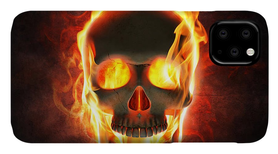 Skull IPhone Case featuring the photograph Evil skull in flames and smoke by Johan Swanepoel