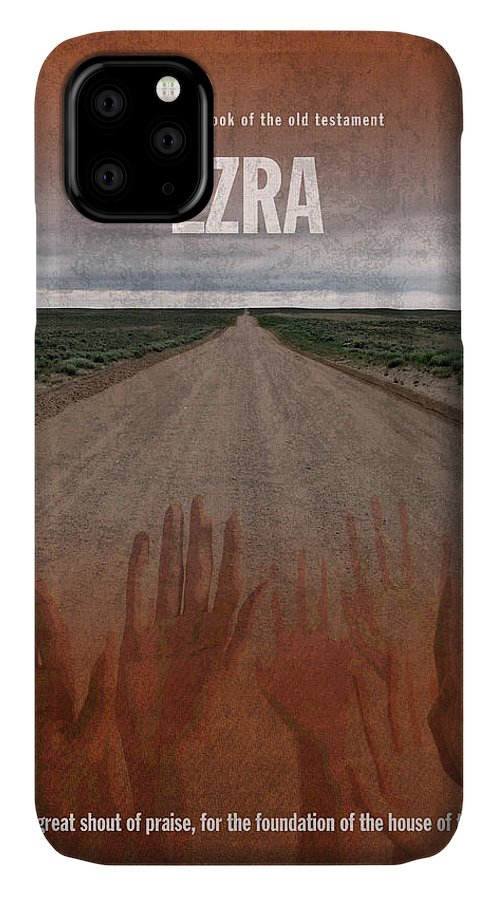 Ezra IPhone Case featuring the mixed media Ezra Books Of The Bible Series Old Testament Minimal Poster Art Number 15 by Design Turnpike