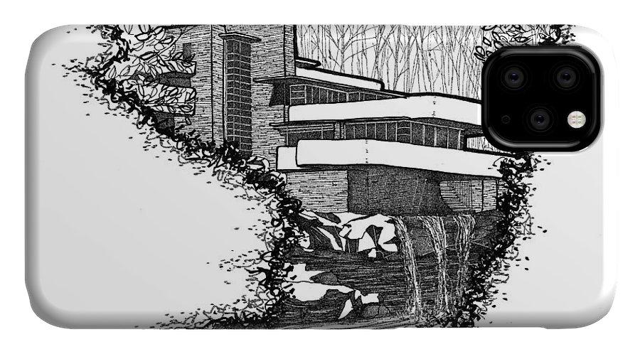 architecture watercolor- Fallingwater- Frank Lloyd Wright- 8x10 ... | 498x900