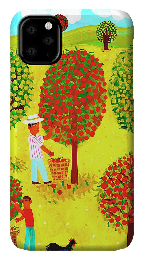 Abundance IPhone Case featuring the photograph Family Picking Apples In Orchard by Ikon Ikon Images