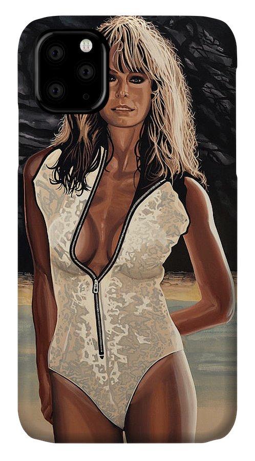 Farrah Fawcett IPhone 11 Case featuring the painting Farrah Fawcett Painting by Paul Meijering