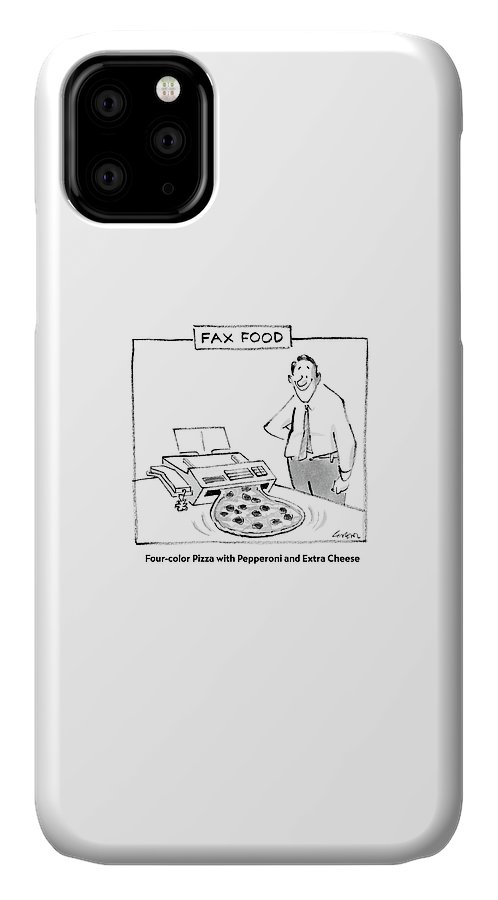 Inventions IPhone 11 Case featuring the drawing Fax Food 'four-color Pizza With Pepperoni by Lee Lorenz