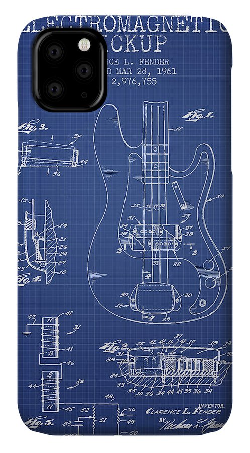 Fender IPhone Case featuring the digital art Fender Guitar Patent From 1961 - Blueprint by Aged Pixel