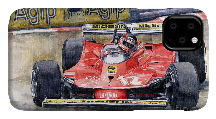 Watercolor IPhone Case featuring the painting Ferrari 312t4 Gilles Villeneuve Monaco Gp 1979 by Yuriy Shevchuk