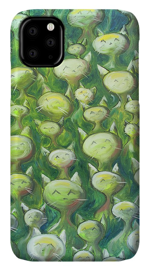 Cats IPhone 11 Case featuring the painting Field Of Cats by Nik Helbig