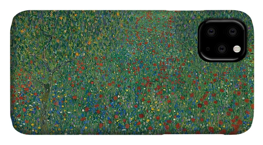 Art IPhone 11 Case featuring the painting Field Of Poppies by Gustav Klimt