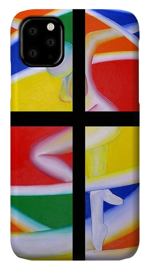 Firedancer IPhone 11 Case featuring the painting Firedancer by Joshua Morton