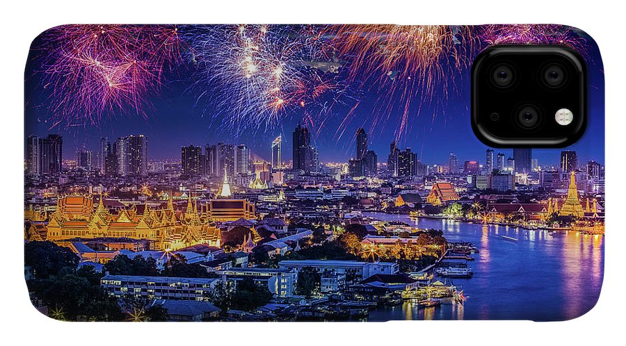 Mother's Day IPhone Case featuring the photograph Fireworks Above Bangkok City by Natapong Supalertsophon