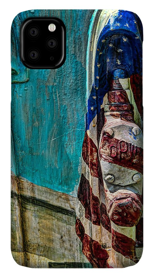 Abstract IPhone Case featuring the photograph Flag Gas Pump by Richard Patrick