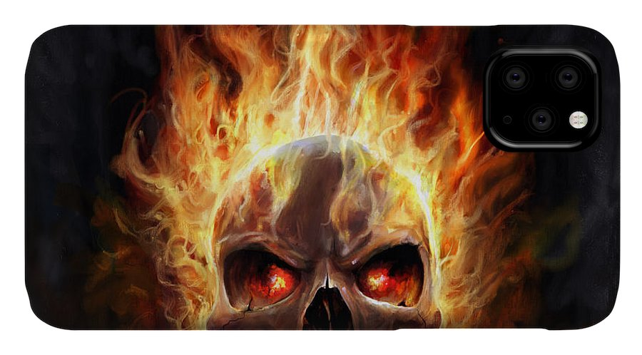 Flames IPhone Case featuring the digital art Flaming Skull by Steve Goad