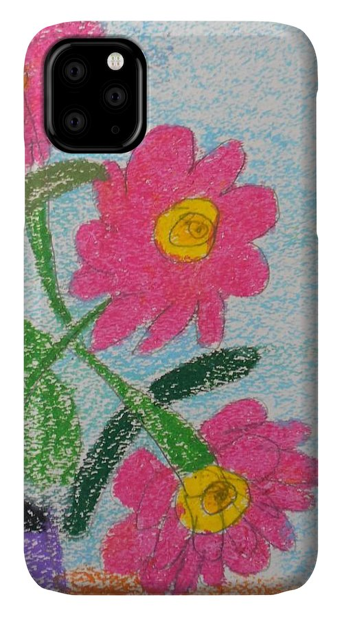 Oil Pastel Paints IPhone 11 Case featuring the pastel Flowers by Epic Luis Art