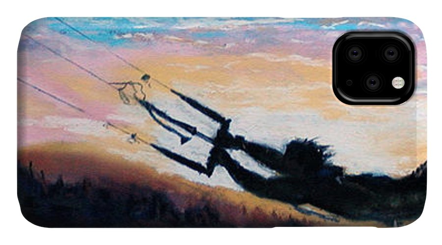 Kiteboarding IPhone Case featuring the pastel Flyin' Kiteboarder by Lynee Sapere