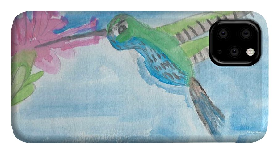 Flying Hummingbird IPhone Case featuring the painting Flying Hummingbird by Epic Luis Art