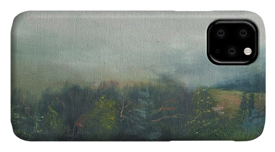 Landscape IPhone Case featuring the painting Foggy Morning On Cannon by Sharon E Allen