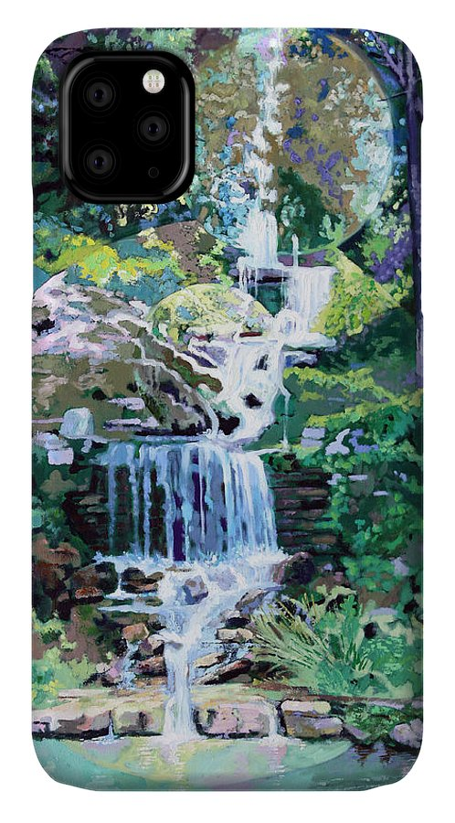 Waterfall IPhone Case featuring the painting Forest Park Waterfall by John Lautermilch