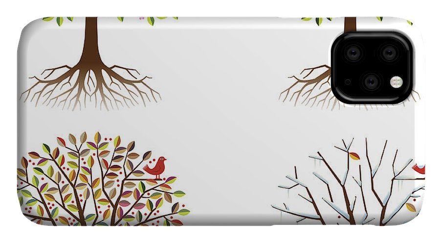 Environmental Conservation IPhone Case featuring the digital art Four Seasons In One Tree by Johnwoodcock