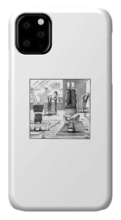 Captionless Frankenstein IPhone Case featuring the drawing Frankenstein's Monster Easily Balances by Harry Bliss