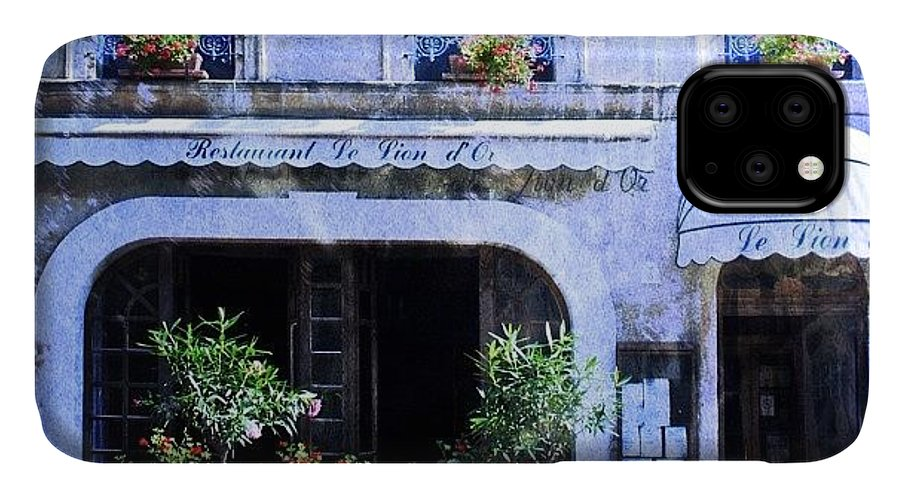 Love IPhone 11 Case featuring the photograph #frenchhotel #frenchrestaurant by Georgia Fowler