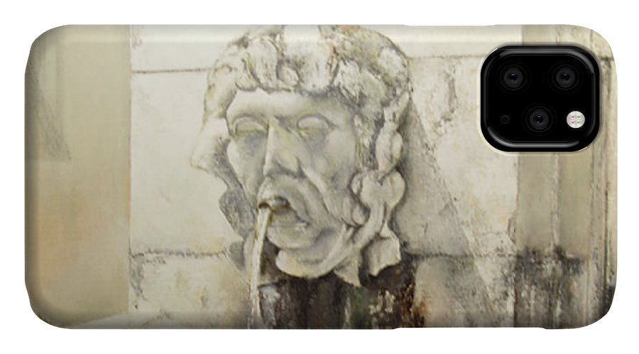 Fuente De San Isidoro- Leon IPhone Case featuring the painting Fuente de San Isidoro by Tomas Castano