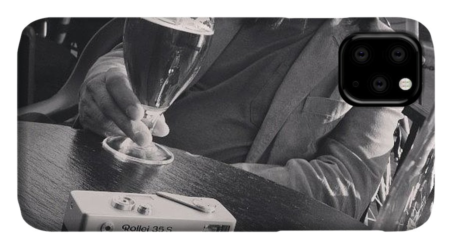 Gastown IPhone 11 Case featuring the photograph #gastown #beers #blackandwhitefilm by Tonino Guzzo